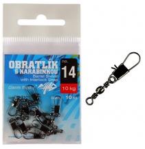 Obratlík s karabinkou Barrel Swivel with Interlock Snap no.10/14kg/10ks