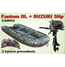Člun Fantom 3 CAMOU 3 kýl s Motorem SUZUKI 5HP