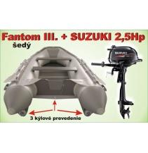 Člun Fantom 3 - trojkýlový s Motorem SUZUKI 2,5HP