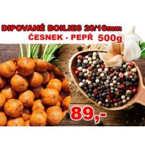 Boilies ČESNEK-PEPŘ 20/16mm 500g dipované