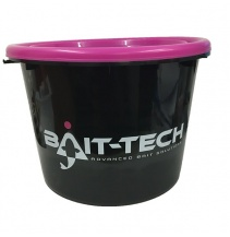 Bait-Tech Kbelík s víkem Groundbait Bucket and Lid - černý/růžový