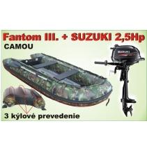 Člun Fantom 3 CAMOU 3 kýl s Motorom SUZUKI 2,5Hp