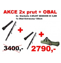 AKCE 2x Prut Starbaits 3 díly 3,6m 3lbs + Obal