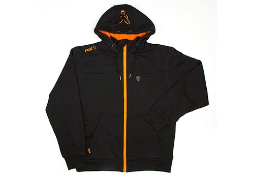 Heavy Lined Hoody Black/Orange
