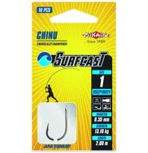 Navázané háčky SURFCAST - CHINU vel. 4 BN černý nikl / 0.30mm / 200cm - 10ks